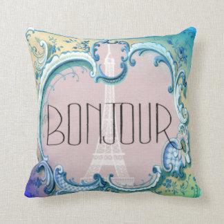 Bonjour Paris Vintage French Eiffel Tower Blues Cushion