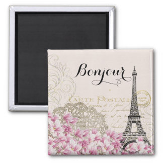 Bonjour Vintage Eiffel Tower Collage Square Magnet
