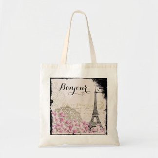 Bonjour Vintage Eiffel Tower Collage with Flowers Tote Bag