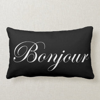 Bonjour White on Black Lumbar Cushion