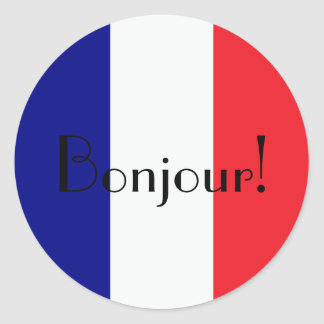 Bonjour with french flag in blue white and red round sticker