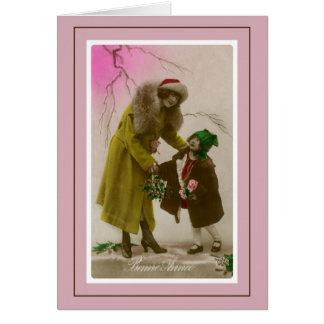 Bonne annee vintage French Photo mother and child Card