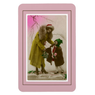 Bonne annee vintage French Photo mother and child Rectangular Photo Magnet