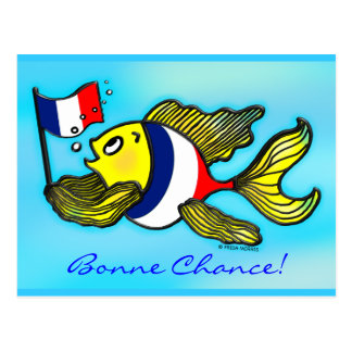 BONNE CHANCE French Flag Fish funny cartoon Postcard