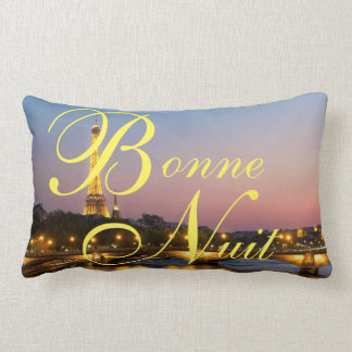 Bonne Nuit Good Night French Paris at Night Pillow
