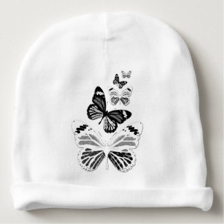 Bonnet of birth black and white butterflies baby beanie