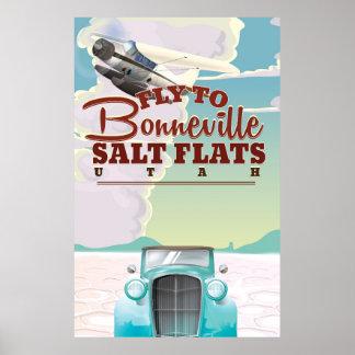 Bonneville Salt Flat Utah vintage travel poster