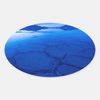 Bonneville Salt Flats In Winter - Utah Oval Sticker