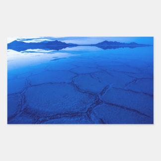 Bonneville Salt Flats In Winter - Utah Rectangular Sticker