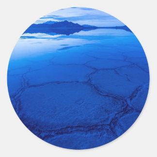 Bonneville Salt Flats In Winter - Utah Round Sticker