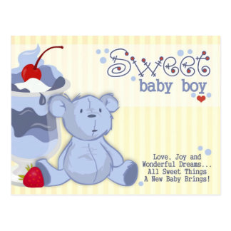 Bonnie Blue Bear Shower Invitation Postcard