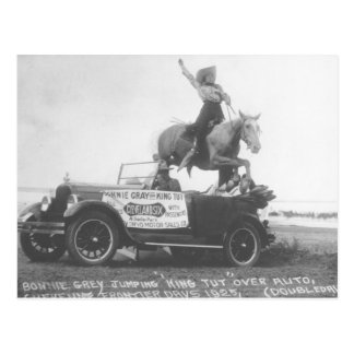 Bonnie Gray jumping her horse. Postcard