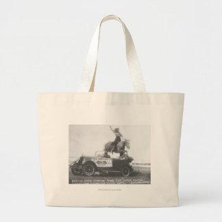 Bonnie Grey jumping her horse. Jumbo Tote Bag
