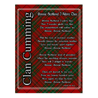 Bonnie Scotland I Adore Thee Clan Cumming Tartan Postcard
