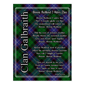 Bonnie Scotland I Adore Thee Clan Galbraith Tartan Postcard