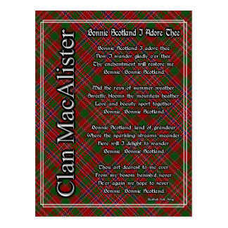 Bonnie Scotland I Adore Thee MacAlister Tartan Postcard