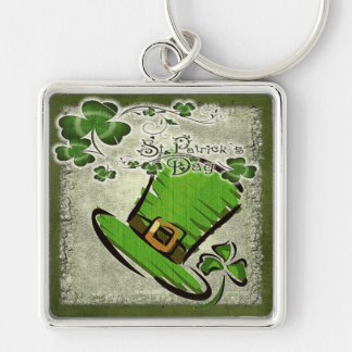 Bonnie St. Patricks Day GIFT Silver-Colored Square Key Ring