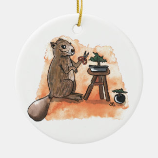 Bonsai Beaver Ceramic Ornament
