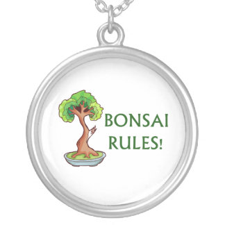 Bonsai Rules Shari Tree Graphic and text design Round Pendant Necklace
