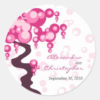 Bonsai Tree Stylish Bride and Groom Announcement Round Sticker