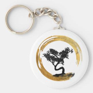 Bonsai Tree. Zen Enso Circl. Feng Shui Calligraphy Key Ring