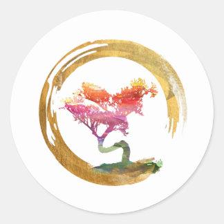 Bonsai Tree. Zen Enso Circle. Watercolor Art Classic Round Sticker