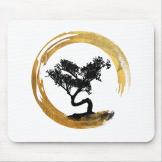 Bonsai Tree. Zen Enso Circle. Watercolor Art Mouse Pad