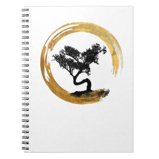Bonsai Tree. Zen Enso Circle. Watercolor Art Notebooks