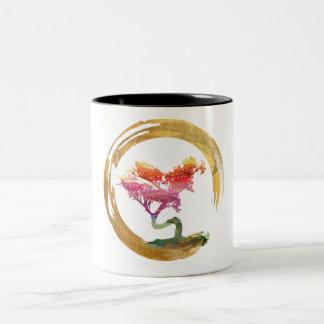 Bonsai Tree. Zen Enso Circle. Watercolor Art Two-Tone Coffee Mug