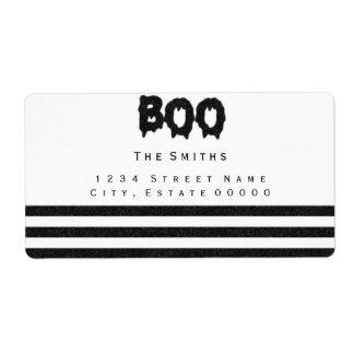 Boo Black and white stripes address label