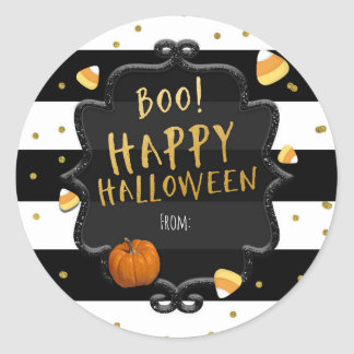 Boo! Candy Corn Happy Halloween Party Stickers