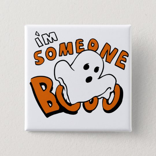 Boo - cartoon ghost - baby ghost - funny ghost 15 cm square badge