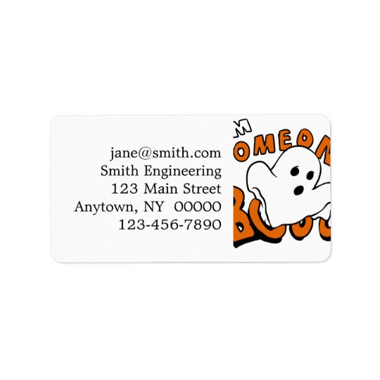 Boo - cartoon ghost - baby ghost - funny ghost address label