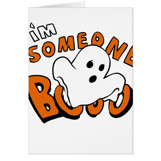 Boo - cartoon ghost - baby ghost - funny ghost card