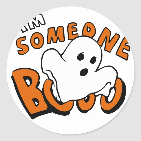 Boo - cartoon ghost - baby ghost - funny ghost classic round sticker
