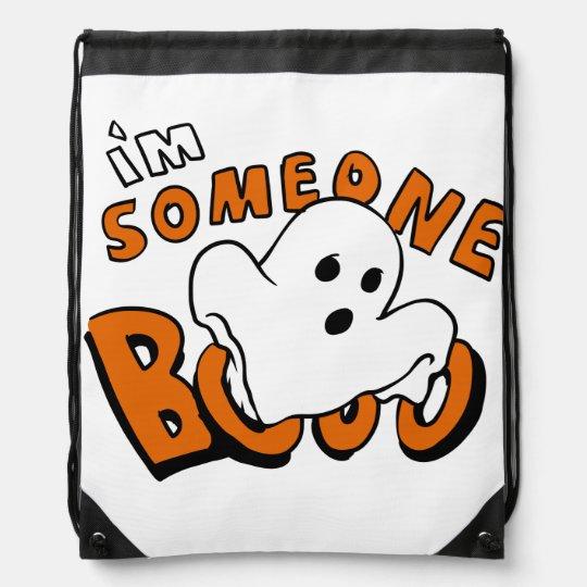 Boo - cartoon ghost - baby ghost - funny ghost drawstring bag