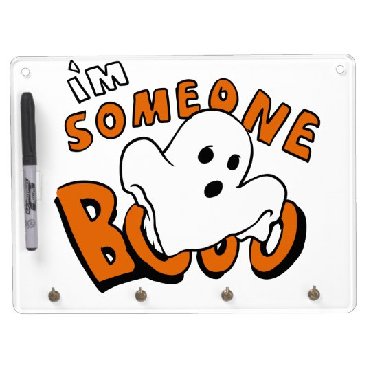 Boo - cartoon ghost - baby ghost - funny ghost dry erase board with key ring holder