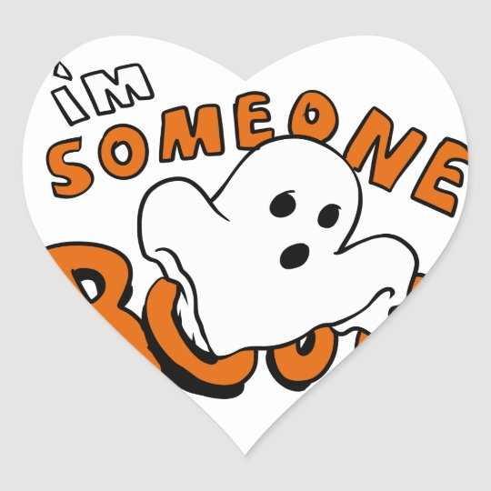 Boo - cartoon ghost - baby ghost - funny ghost heart sticker