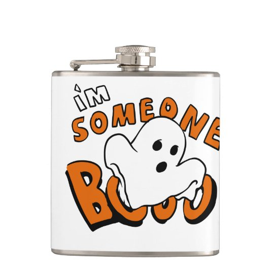 Boo - cartoon ghost - baby ghost - funny ghost hip flask