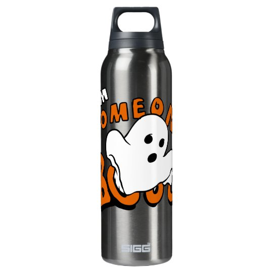 Boo - cartoon ghost - baby ghost - funny ghost insulated water bottle