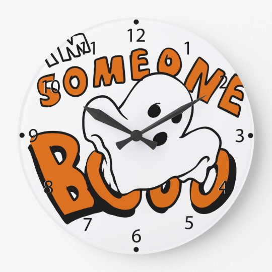 Boo - cartoon ghost - baby ghost - funny ghost large clock