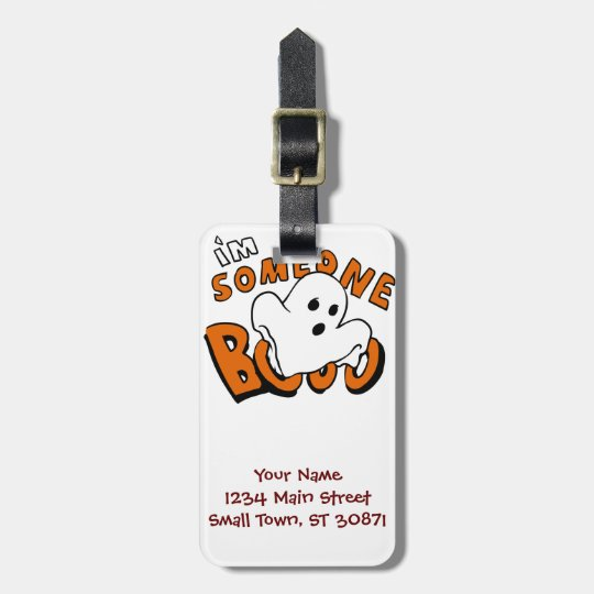 Boo - cartoon ghost - baby ghost - funny ghost luggage tag