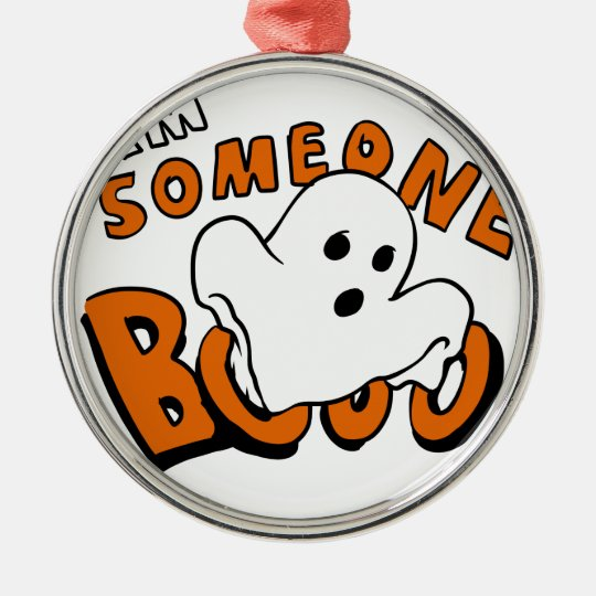 Boo - cartoon ghost - baby ghost - funny ghost metal ornament