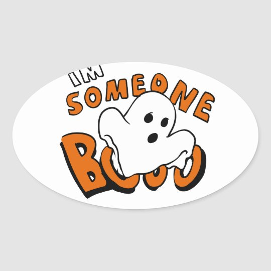 Boo - cartoon ghost - baby ghost - funny ghost oval sticker