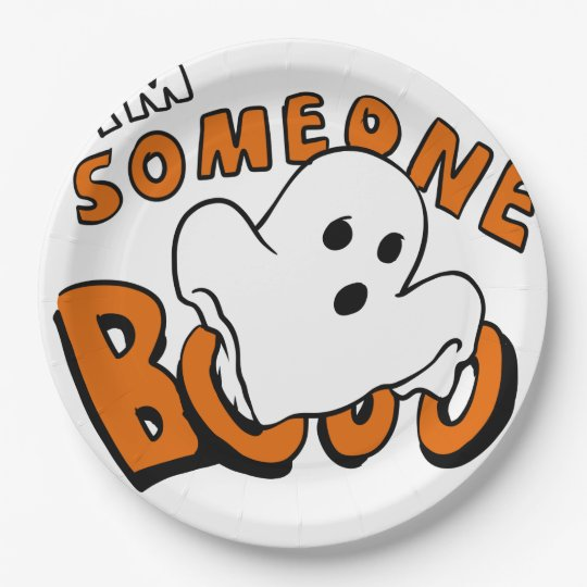 Boo - cartoon ghost - baby ghost - funny ghost paper plate