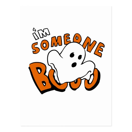 Boo - cartoon ghost - baby ghost - funny ghost postcard