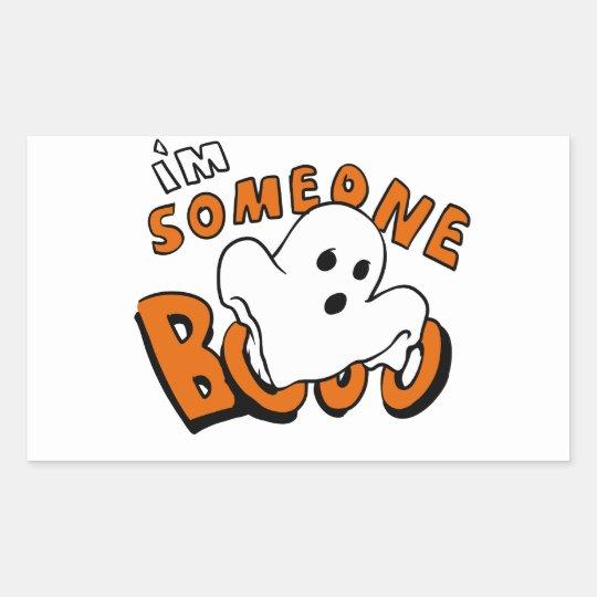 Boo - cartoon ghost - baby ghost - funny ghost rectangular sticker