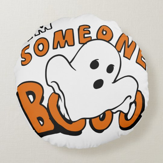 Boo - cartoon ghost - baby ghost - funny ghost round cushion