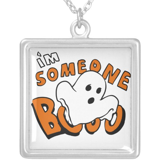 Boo - cartoon ghost - baby ghost - funny ghost silver plated necklace