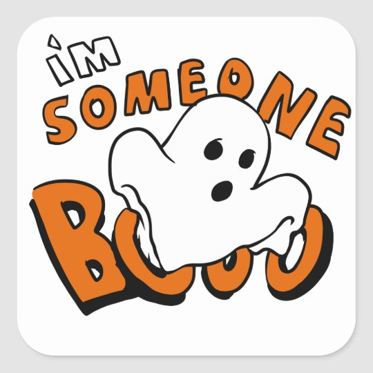 Boo - cartoon ghost - baby ghost - funny ghost square sticker